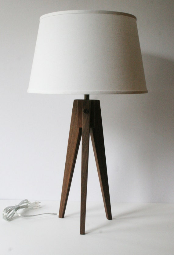 table lamp tripod slim walnut. Black Bedroom Furniture Sets. Home Design Ideas