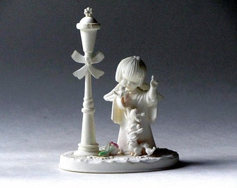 Matte White Plastic Angel Figurine Birds and Bunnies Made in Hong Kong