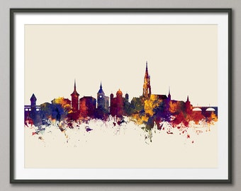 Bern Skyline, Bern Switzerland Cityscape Art Print (2688)
