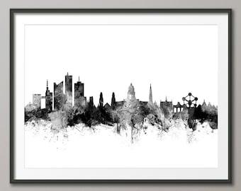 Brussels Skyline, Brussels Belgium Cityscape Art Print (2702)
