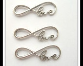 1 Love Infinity Charms, Infinity Bracelet Connector Antique Silver  39 x 15 mm sc528