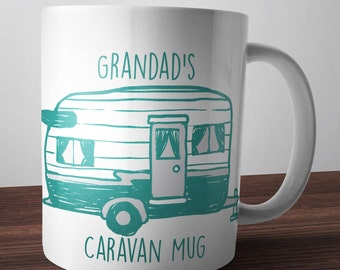Grandad's Caravan Mug Cup Caravanning gift Personalised Mum Dad Nan Caravanner Hand Made Printed Coffee Tea Campervan Camping Christmas new