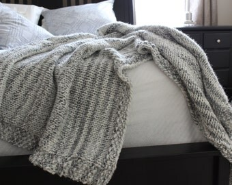 Easy Knitting Patterns For Throw Rugs : Knit blanket pattern Etsy