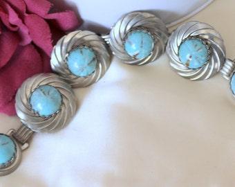 Aqua Bracelet - Lucite Cabachons - Silver Tone Setting - Boho Style Thermoset