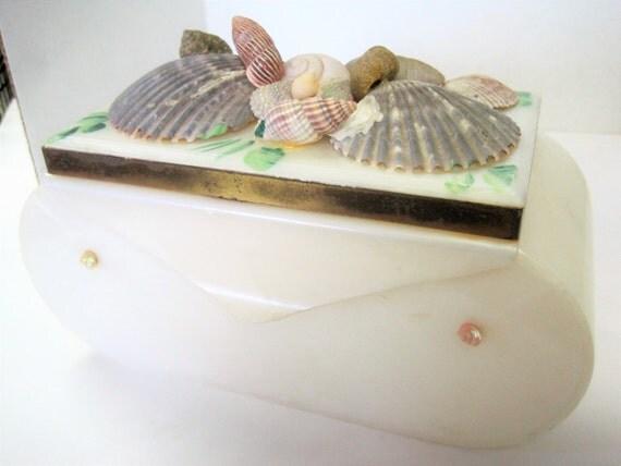 Seashell Lucite Purse - Vanity White Storage - No Handles -  50's Home Decor
