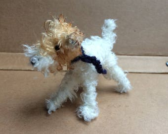 Wire-haired Fox Terrier, Miniature dog, custom dog portrait, needle felted dog, gifts for dog owner, dog miniature, portraits of my dog