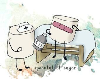 Spoonful of sugar Nurse Marshmallow - Unisex Longsleeve Shirt - FREE US shipping