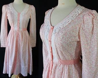 70s Candi Jones NOS Dress Coral Pink Calico