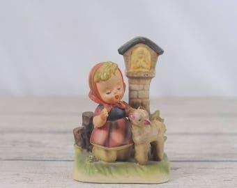 Vintage Girl Praying with Lamb #8336 Erich Stauffer Arnart Figurine Statue Japan