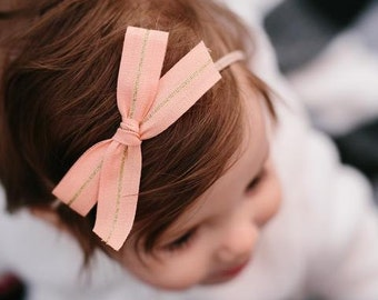 Ribbon Bow - Peach and Gold - Available on one size fits all nylon elastic or a clip