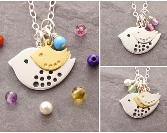 Mom Necklace, 1-2 kids, birthstone, gifts for mom, mother necklace, baby shower, personalized, mother daughter, bird necklace, N2