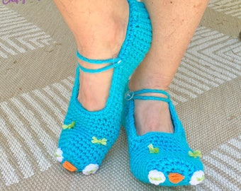 READY TO SHIP Blue Owl Slippers - Adult Women's / Teens - One Size Fits Most