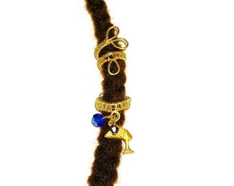Dreadlock Jewelry - Golden Nefertiti Cuff Loc Jewel and Coordinated Slide (2-Piece Set)