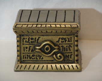 Handcrafted Deck Box by Leifkicker. Brass Colored Resin Millennium Puzzle Box. Great for EDH; holds 100 Sleeved Cards.