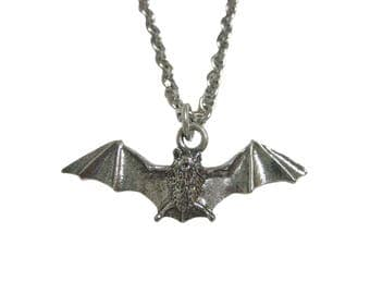 Silver Toned Textured Bat Pendant Necklace