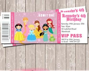Princess Ticket Style Birthday Invitation - YOU PRINT