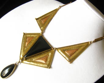 SALE IXEL Mexican Brutalist Modernist Geometric Necklace in Brass & Copper with Large Black Inset Cabochon and Pendant.  Spectacular.