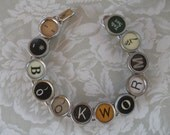 Vintage Typewriter Key Bracelet --BOOKWORM--