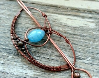 Metal hair barrette Celtic  hair clip Rustic copper hair slide Womens gift For her Hair pins Bun Pin Hair Fork