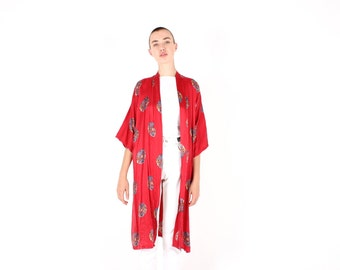 90s 100% SILK Chinese Dragon Medallion Red & Gold Bell Sleeve Oriental Kimono Jacket / Robe / Duster