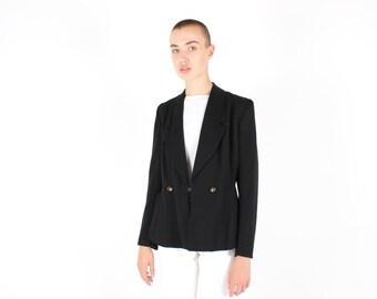 80s Perfectly Tailored Womens Black Cinched Waist / Peplum Flare Tuxedo Suit Blazer Jacket