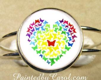 Butterfly Heart Bracelet, Rainbow Butterfly Heart Cuff Bracelet, Heart Jewelry, Butterfly Jewelry, Butterfly Cuff, Valentines Gift