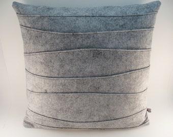 Gray Wool Felt Pillow, Modern Pillow, Decorative Throw Pillow, Pillow with Organic Ribbing