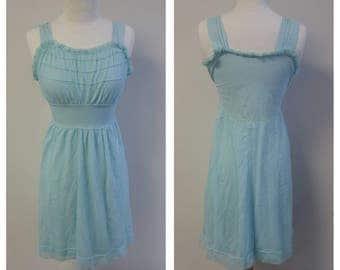 Vintage Lingerie, 1960's Vintage Nightie, Light Turquoise Chiffon Nightgown, No Label, Nylon Tricot Ladies Size XS #050