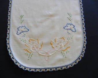 """Vintage Dresser Scarf, 15"""" X 41"""" hand embroidered with hand crocheted lace edging. shabby chic"""