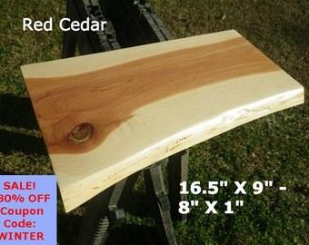 Live Edge Red Cedar Wood Slab Finished DIY Floating Shelf, Natural Edge Shelving, Floating Table, Work Station, Coffee Table, Bar Top 0048