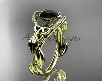 14kt yellow gold diamond celtic trinity knot wedding ring, engagement ring with a Black Diamond center stone CT7326