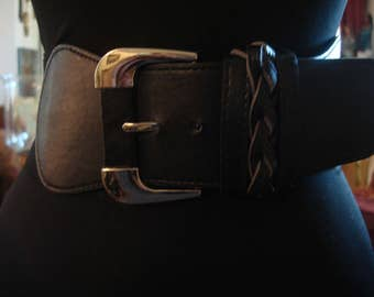 Vintage 1990s Boho Chic Black Elastic and Silver Wide Waist Belt with Large Silver Buckle