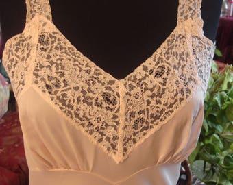 Vintage 1970s White V Neck Lace Slip Dress Gown