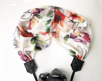 Scarf Camera Strap - dslr camera strap - camera neck strap - antique soft cream and pink floral