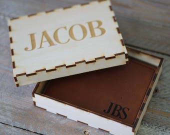 Personalized Engraved Bifold Wallet, Fathers Day Gift, Groomsmen Gifts, Best Man Gift, Monogrammed Wallet Gift Box Set