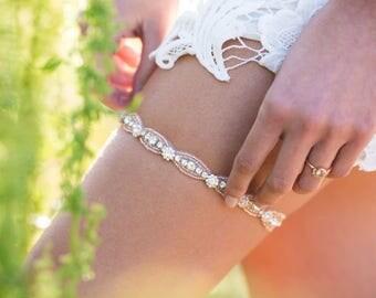 Skinny Rose Gold Garter,Rose Gold Wedding Garter,Rose Gold Bridal Garter,Rhinestone Swarovski Crystal Garter,Rose Gold Accent,Prom Garter