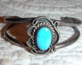Silver and Turquoise Baby Bracelet