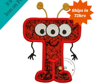 monster letter t applique initial embroidered patch bright iron on applique letter iron on letter embellishment iron on monogram patch