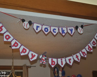 Mickey Mouse Baseball Personalized Name Banner
