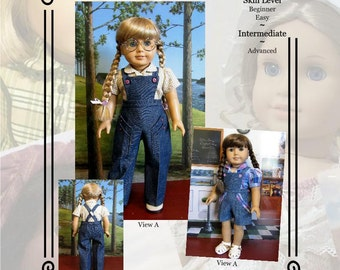 "PDF Pattern KDD19 ""Bibbed Play Suit"" -An Original KeepersDollyDuds Design, Makes 18"" Doll Clothes"
