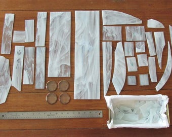 White Marbled Stained Glass Supplies - Large Small Sheet Round Clear Scrap