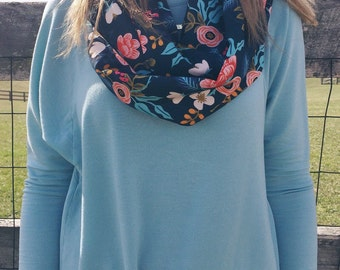 Infinity Scarf: Rifle Paper Co Navy Floral