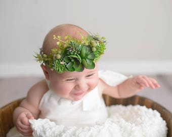 Fern Crown, succulent crown, baby flower crown, succulents, baby prop, newborn photo prop, photo prop, newborn crown, ready to ship