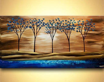 Landscape Print - Stretched Canvas, Embellished & Ready-to-Hang  - By the Lake - Art by Osnat