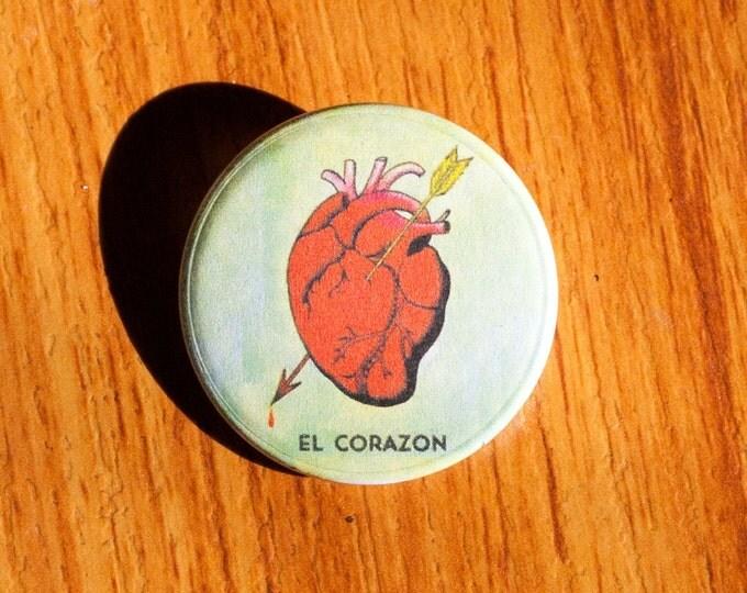 """El Corazon - La Loteria - 1.25"""" Pinback Button"""