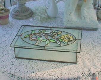 Stained Glass Box Jewelry Keepsakes Vanity Romantic Decor