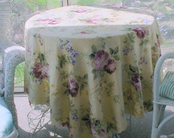 Tablecloth Yellow Florals Vintage French Country Cottage Chic Prairie Farmhouse