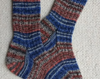 Hand knitted woman, man  socks, UK 7-9 US 8-10