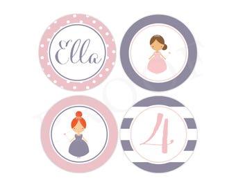Personalized Princess Party Stickers (Princess Birthday Decor, Printable Party Circles, Printable Princess Decor, 2.5 inch stickers)