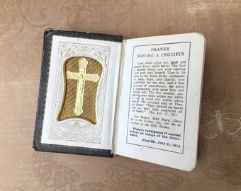 Sweet Child's 1933 Prayer Book with Crucifix on Inside Cover
